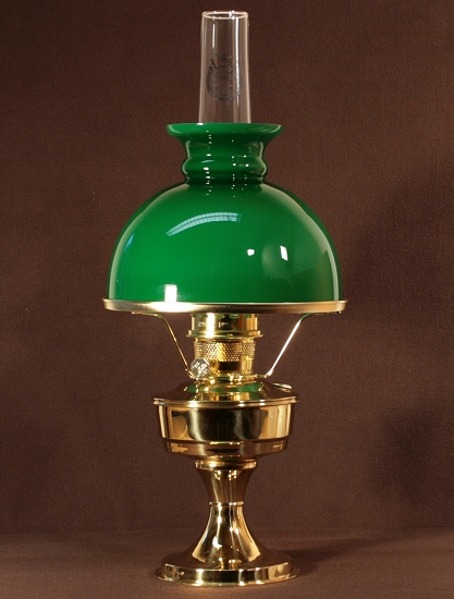 Aladdin Table Lamp, Messing mit grünem Rochesterschirm (10