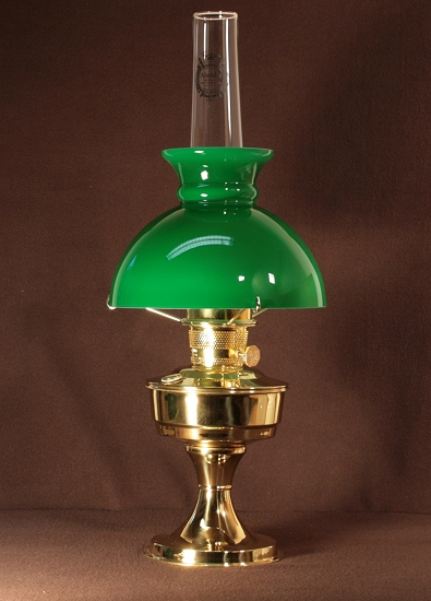 Aladdin Table Lamp, Messing mit grünem Rochesterschirm (9.5