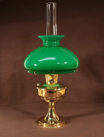 Aladdin Table Lamp, Messing mit grünem Vestaschirm