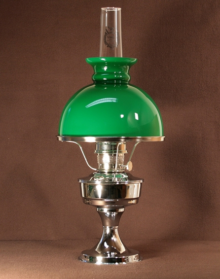 Aladdin Table Lamp, Messing verchromt mit grünem Rochesterschirm (10